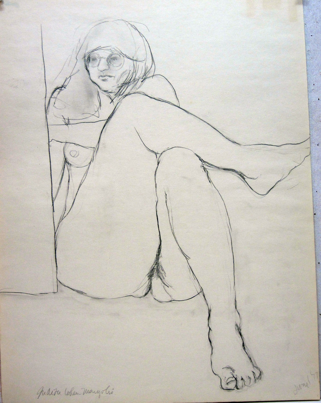 reclining and drawing nude